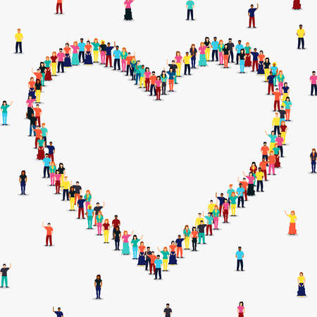 Heart shape frame made of people group on isolated white background with copy space. Diverse women and men, romantic relationship or love concept. Illustration