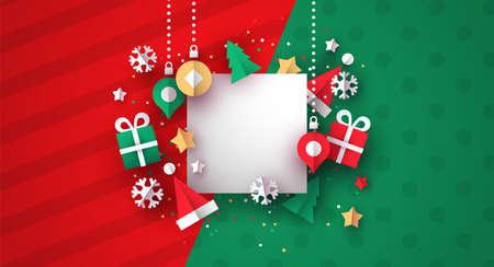 Weihnachtsillustrationsschablone der realistischen 3D-Papierschnittdekoration. Ferienzeitikonen mit weißem Kopienraumkartenrahmen.