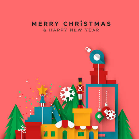 Merry Christmas Happy New Year papercut greeting card illustration of holiday toy city landscape in paper fold style. Includes festive winter shops, ornaments and pine trees. Stock Illustratie