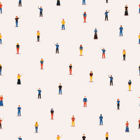 Social community seamless pattern of diverse people group in flat cartoon style, white isolated background with mixed men and women.