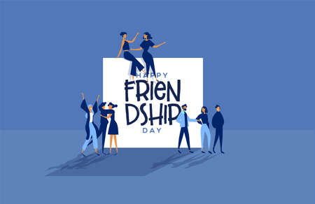 Happy friendship day greeting card illustration of diverse friend groups and best friends talking. Modern people cartoon in social event.