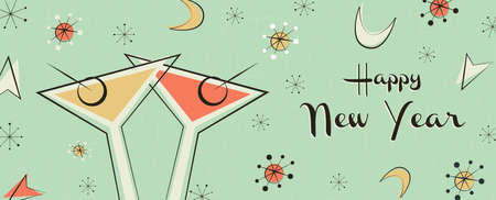 Happy New Year web banner illustration. Retro mid century style background with vintage party drink making a celebration toast.