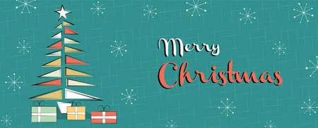 Illustration de carte de voeux joyeux Noël. Pin de Noël de style rétro à l'ancienne avec des cadeaux et des boules d'ornement fond de bannière web.