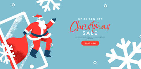 Christmas sale banner illustration with santa claus taking xmas gifts from mobile phone. Online business discount template in modern flat cartoon style. Ilustração
