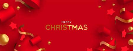 Ilustración de banner de web de feliz Navidad. Adornos abstractos 3d sobre fondo de color rojo con cintas de oro de lujo.