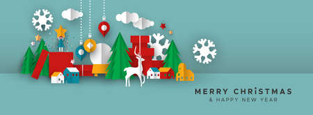 Merry Christmas Happy New Year web banner illustration of papercut holiday decoration landscape. Festive paper craft includes gift box, toys, pine tree and winter snowflakes.