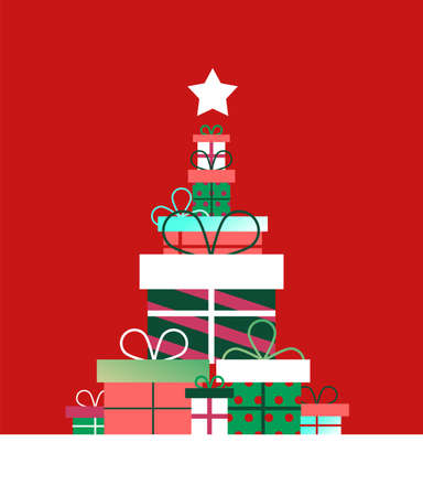 Christmas season illustration concept. Retro color gift boxes making pine tree shape in modern flat style with star ornament.