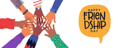 Happy Friendship Day web banner illustration of friends hands together in circle shape. People group hand round with diverse helping team. Illustration