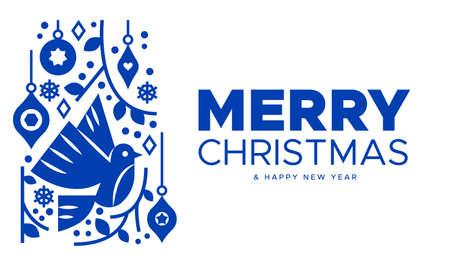 Frohe Weihnachten Happy New Year Grußkartenillustration von Feiertagsverzierungen und Taubenvogel im traditionellen skandinavischen oder nordischen Stil. Vektorgrafik