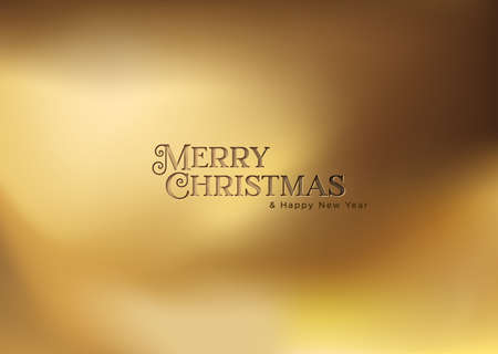 Merry Christmas and Happy New Year gold greeting card illustration. Luxury golden background with realistic text quote stamp for elegant holiday season greetings.