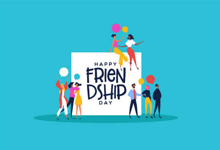 Happy friendship day greeting card illustration of diverse friend groups and best friends talking. Colorful people cartoon with chat bubbles.