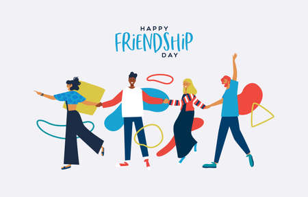 Happy Friendship Day greeting card illustration of friends walking holding hands with abstract geometric shapes in colorful flat style. Young people group together for social event.