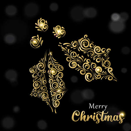 Merry Christmas greeting card illustration in gold and black with holly leaf. Ideal for holiday greeting card, poster or web.