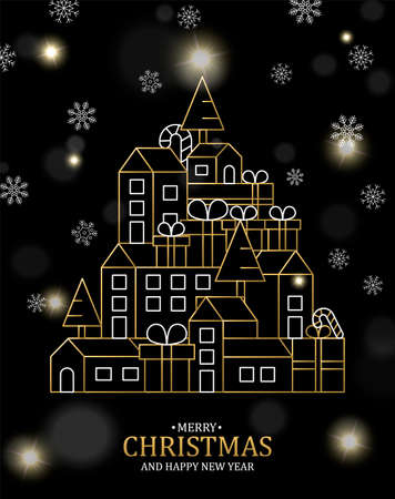 Merry Christmas Happy New Year illustration of gold city with pine trees and gift boxes on black winter background.