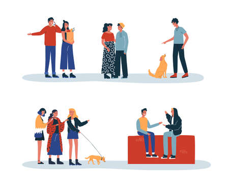 Set of people daily lifestyle activities with friends, pets and couples. Includes woman doing groceries, boy talking on phone, walking dog. 向量圖像