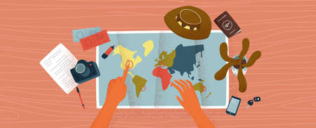 Woman hands pointing at world map destinations on wood desk surface. Travel plan concept or vacation trip organization illustration with plane tickets, camera and stationery.