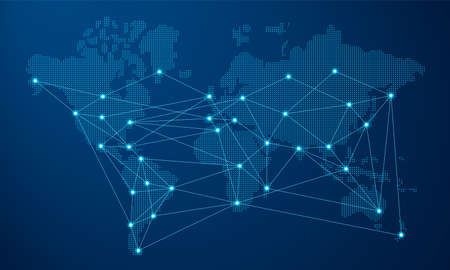 Moderne blaue Weltkarte mit futuristischer digitaler Netzwerkverbindung. Vektorgrafik