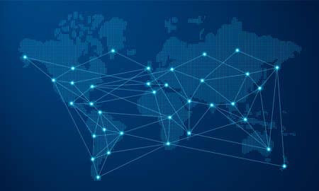 Nowoczesna mapa świata niebieski z futurystycznym połączeniem sieci cyfrowej. Ilustracje wektorowe