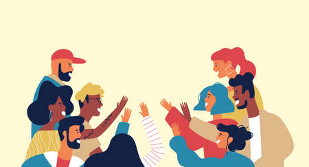 Diverse young adult people group doing high five together for friendship concept in isolated white background. Colorful team of multi ethnic youth.