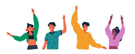 Diverse junge Leute winken hallo und hoben die Arme auf isoliertem Weiß Vektorgrafik
