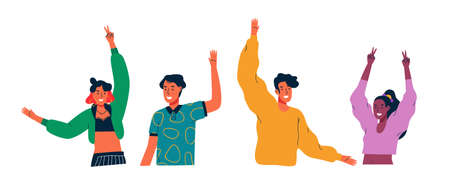 Diversi gruppi di giovani salutano con la mano e alzano le braccia su bianco isolato Vettoriali