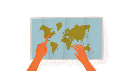 Woman hands pointing at world map destinations on empty isolated white background. Travel plan concept or vacation trip organization illustration.