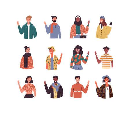 Diverse persone multietniche impostate salutando su sfondo bianco isolato. Mix culturale mondiale di giovani gruppi millenari. Vettoriali