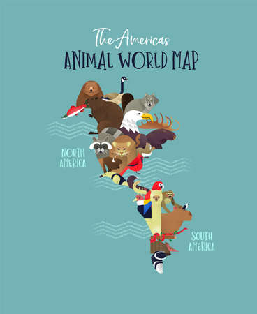 The Americas map made of wild animals from south and north america. Diverse wildlife in continent shape includes bear, monkey, bird, wolf, exotic fauna.