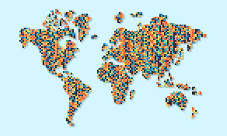 Colorful world map illustration made of multicolor pixels. Abstract geometric pixel planet on isolated background. Illusztráció