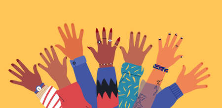 Diverse young people hands on isolated background. Teenager hand group with raised arm for celebration or friend community concept. Flat cartoon illustration of men and women arms. Illusztráció