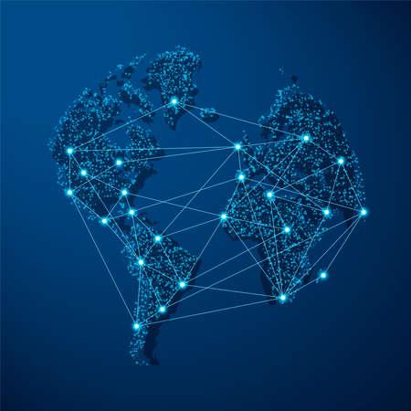 Illustrazione blu moderna della mappa del mondo con connessione di rete digitale futuristica. Concetto di comunicazione Internet o design di viaggio.