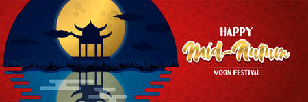 Happy mid autumn festival banner  of traditional asian landscape under full moon.