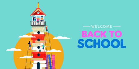 Welcome back to school web banner illustration of children group making lighthouse tower from education books. Creativity or classroom imagination concept for kids. Vetores
