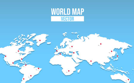 3d world map illustration with red pin locations. Empty globe template of worldwide destinations for education or travel concept. 写真素材 - 130838925