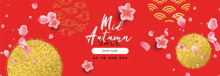 Mid autumn festival sale template for online business promotion or internet store offer. Gold glitter chinese decoration background with realistic 3d pink flowers.