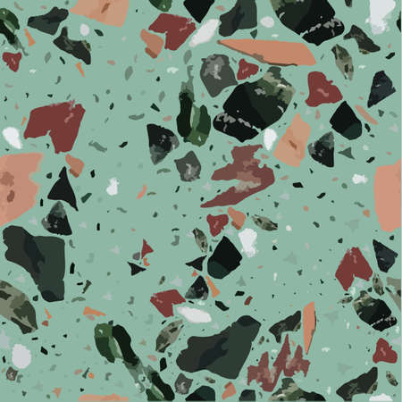 Colorful terrazzo flooring seamless pattern with realistic color stones and rocks on blue Illustration