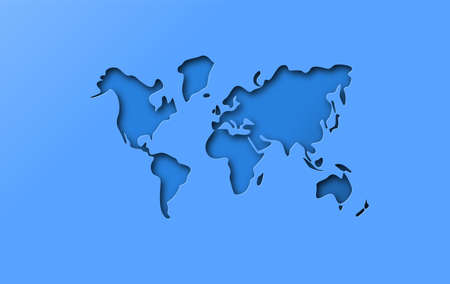 Blue papercut world map illustration on isolated background. Realistic 3d paper cutout globe template in layered style. Illustration