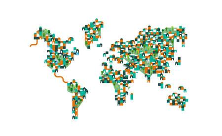 Ilustración de mapa mundial de casas geométricas de dibujos animados planos y parques verdes con árboles. Planeta gráfico del concepto de población para el cuidado del medio ambiente global.