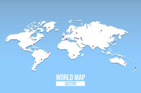 3d world map  with red pin locations. Illustration
