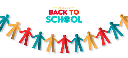 Welcome back to school web banner illustration of papercut children group garland. Colorful diverse kid community concept in 3d paper cutout style for unity or creativity. 向量圖像