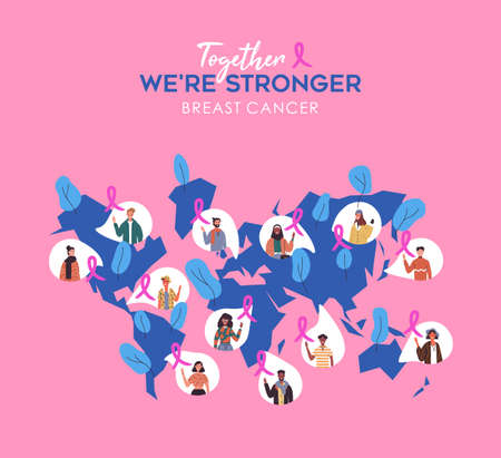 Breast Cancer awareness month  of diverse people in world map with pink ribbon