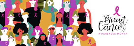 Breast Cancer awareness month banner illustration of diverse ethnic women group with pink support ribbon.
