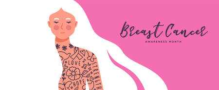 Breast Cancer awareness pink banner illustration of beautiful long hair woman with chest tattoo. Women health campaign concept for disease fight.    Illustration