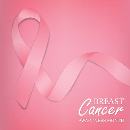 Breast Cancer awareness greeting card illustration of pink silk ribbon.