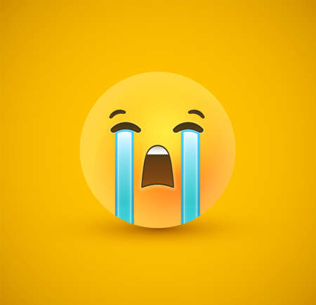 Sad 3d emoticon face on yellow color background. Modern sadness reaction for children or teen expression concept. Realistic chat symbol crying tears. Çizim