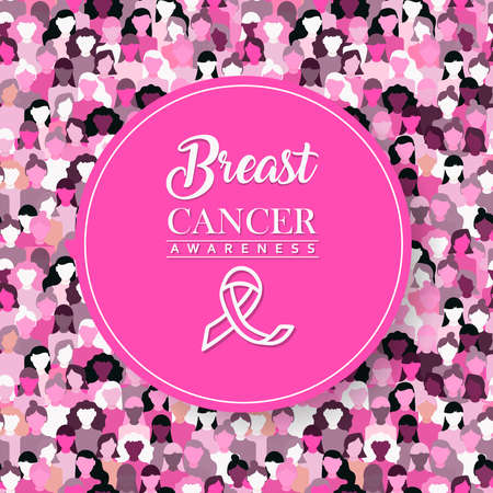 Breast Cancer awareness month illustration of pink typography quote with support ribbon on diverse women group  for health care concept.