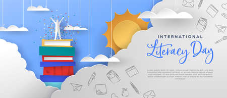 International literacy day illustration template. Happy man on top of book mountain in clouds. Standard-Bild - 129345556