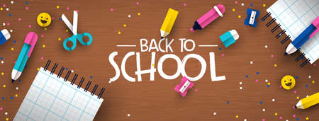 Back to school banner illustration of colorful children class supplies in modern 3d papercut style. Paper cutout elements on wood desk background for fun kids education event. 向量圖像