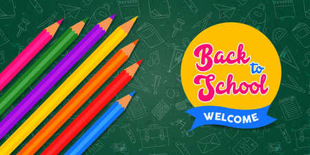 Back to school greeting card  of colorful color pencils on chalkboard  with doodle icons for education concept. 스톡 콘텐츠 - 129345559