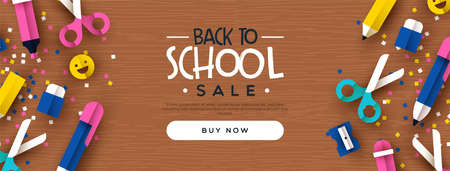 Back to school sale template banner of colorful 3d paper cut children art supplies for business promotion event. Standard-Bild - 129345564